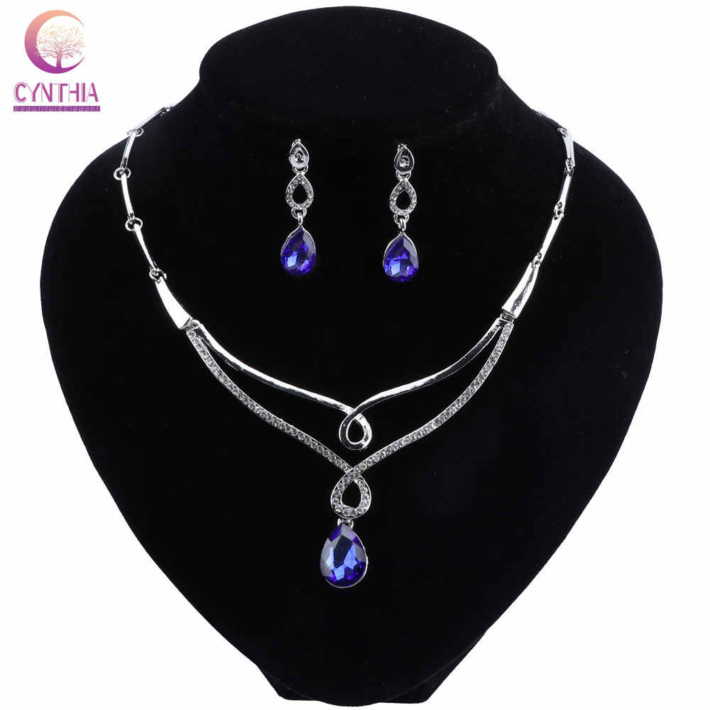 Jewelry Sets Women Luxury African Beads Jewelry Set Silver Color Indian Jewelry Set Water Drop Crystal Turkish Jewellery