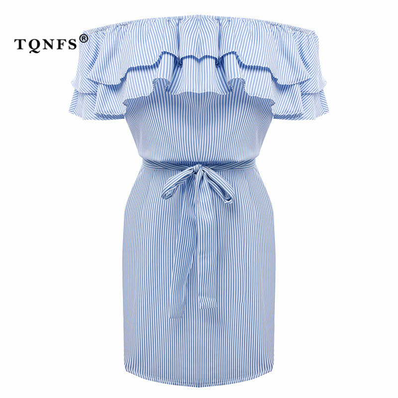 TQNFS Sexy Off Shoulder Striped Ruffles Dress Women Elegant Slash Neck Summer Dress Women Sashes Party Mini Dress Vestidos 6