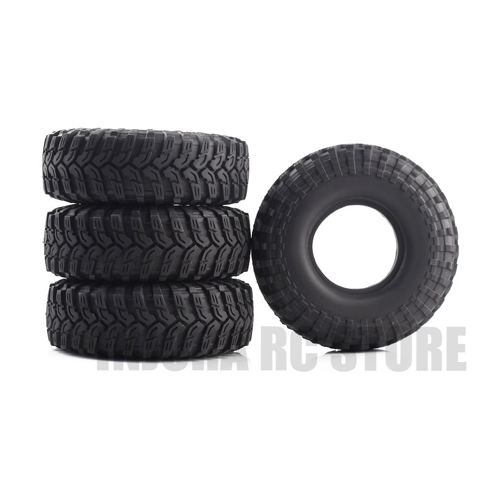 4PCS 1/10 RC Rock Crawler 1.9 Black Rubber Wheel Tires 114*39MM for 1:10 Traxxas TRX-4 Axial SCX10 Tamiya CC01 D90 mxfans rc 1 10 2 2 crawler car inflatable tires black alloy beadlock pack of 4