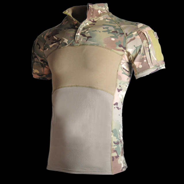US Army Tactical Military Uniform Airsoft Camouflage Man Combat Shirts Rapid Assault Short Sleeve Shirt SWAT Tops