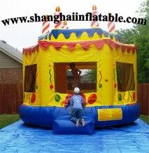 Inflatable big yellow cake bouncer Children Amusement Park Slide For Sale Commercial Entertainment Equipment Price Kids Indoor
