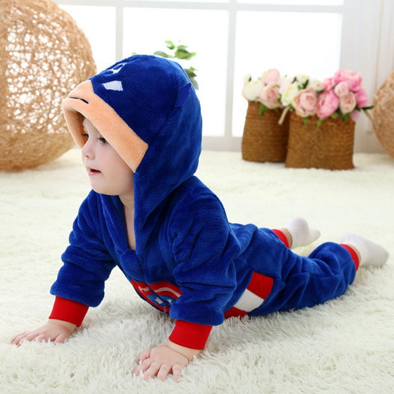 Spring and autumn baby boy clothes spiderman Captain America baby boy rompers Red Blue newborn clothes bodysuit one piece bebe (10)