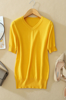 100% козья кашемировые тонкие трикотажные Женская мода Футболка Пуловер с v образным вырезом футболки свитер с коротким рукавом сплошной цве