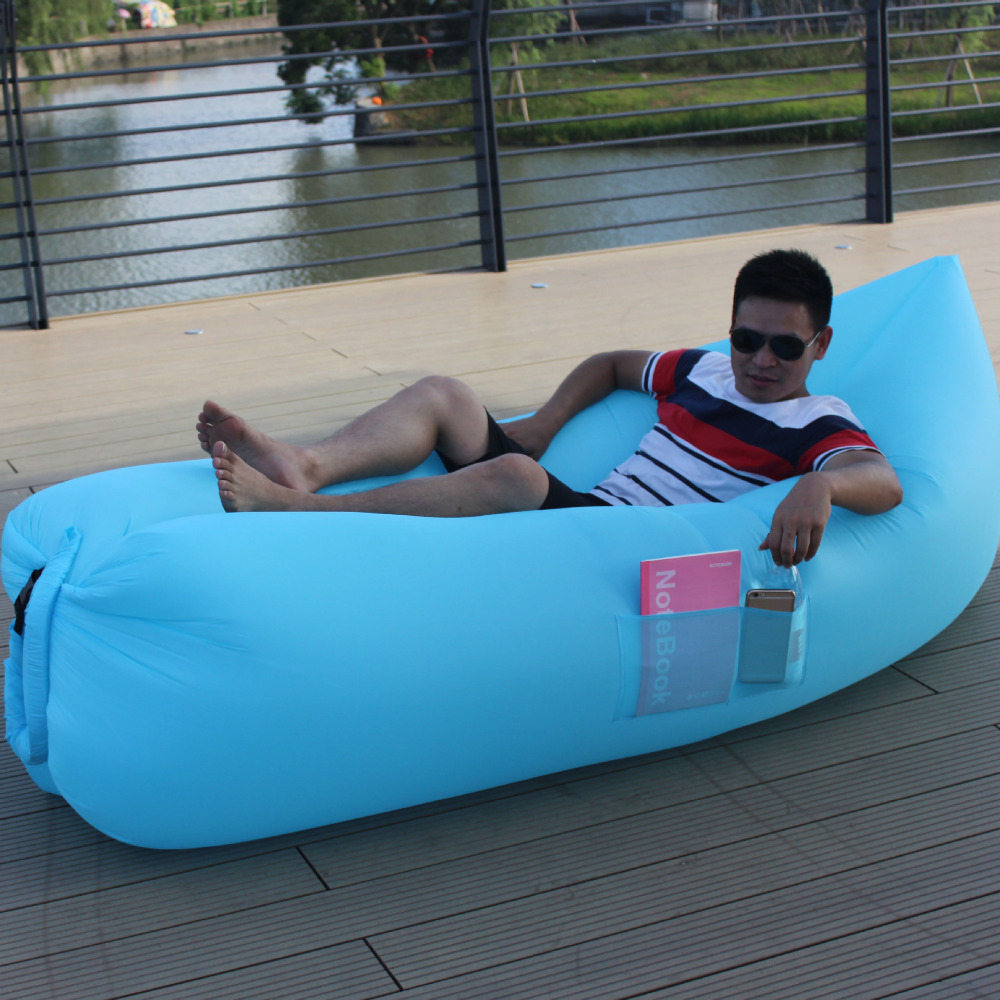 Outdoor Fast Filling Inflatable Lazy Couch Folding Inflatable Bed Camping tour portable air cushion Beach Air Sofa with pocket norent brand waterproof inflatable mattress camping beach picnic air sofa outdoor swimming pool lazy bed folding portable chair