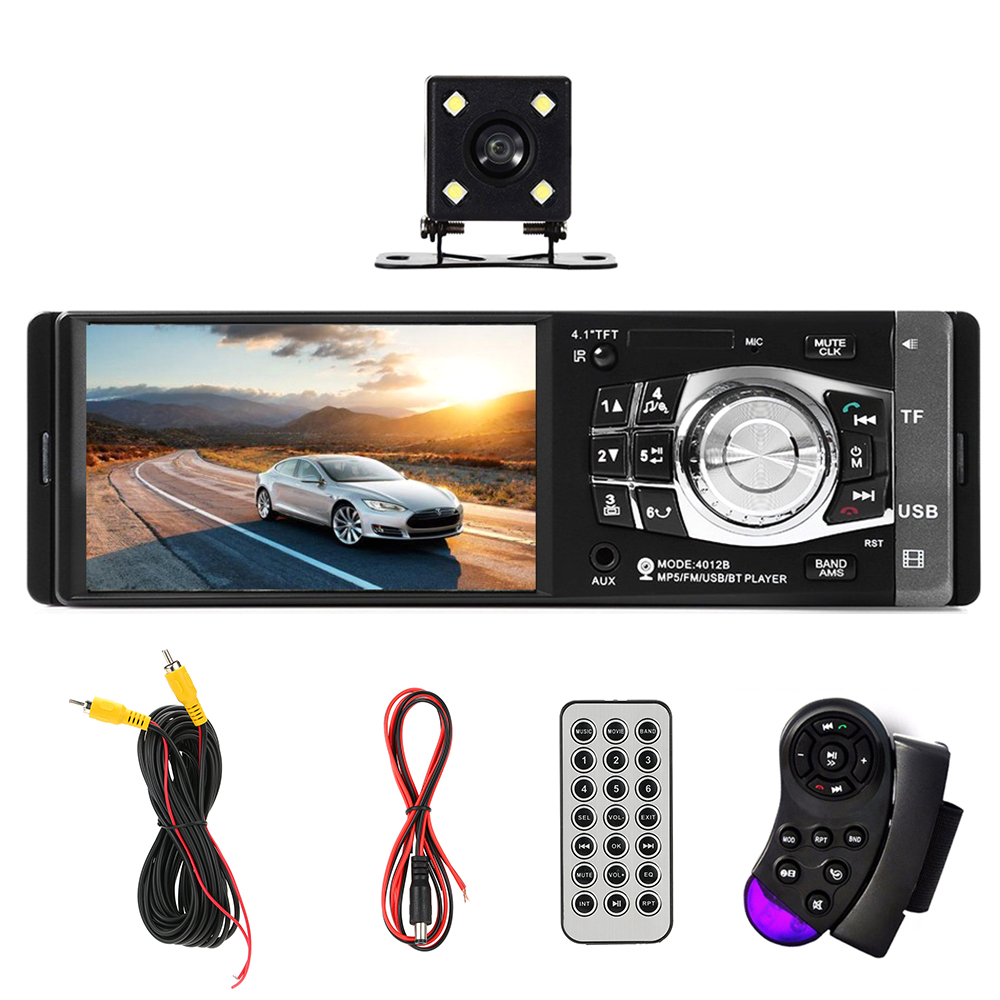 4012B 1 Din Car Radio Auto Audio Stereo FM BT 2.0 USB Steering Wheel Remote Control With/Without Camera MP5 Player