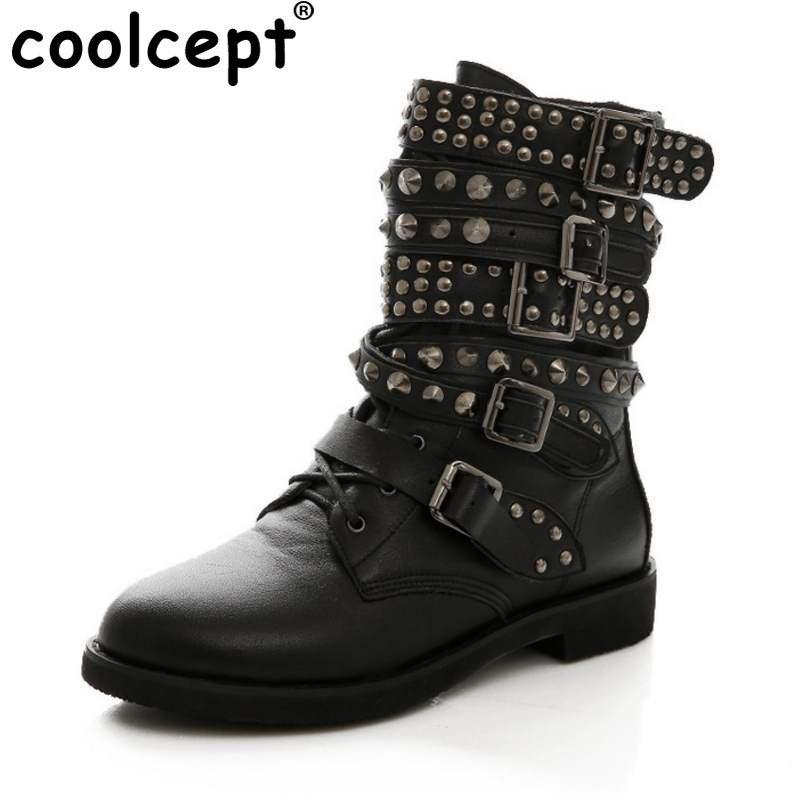 Coolcept Size 35-43 Women Genuine Leather Flats Boots Rivet Metal Buckle Mid Calf Boots Warm Fur Shoes For Winter Women Footwear taoffen women genuine leather flats snow boots women metal buckle mid calf boots warm fur shoes for women footwears size 34 39