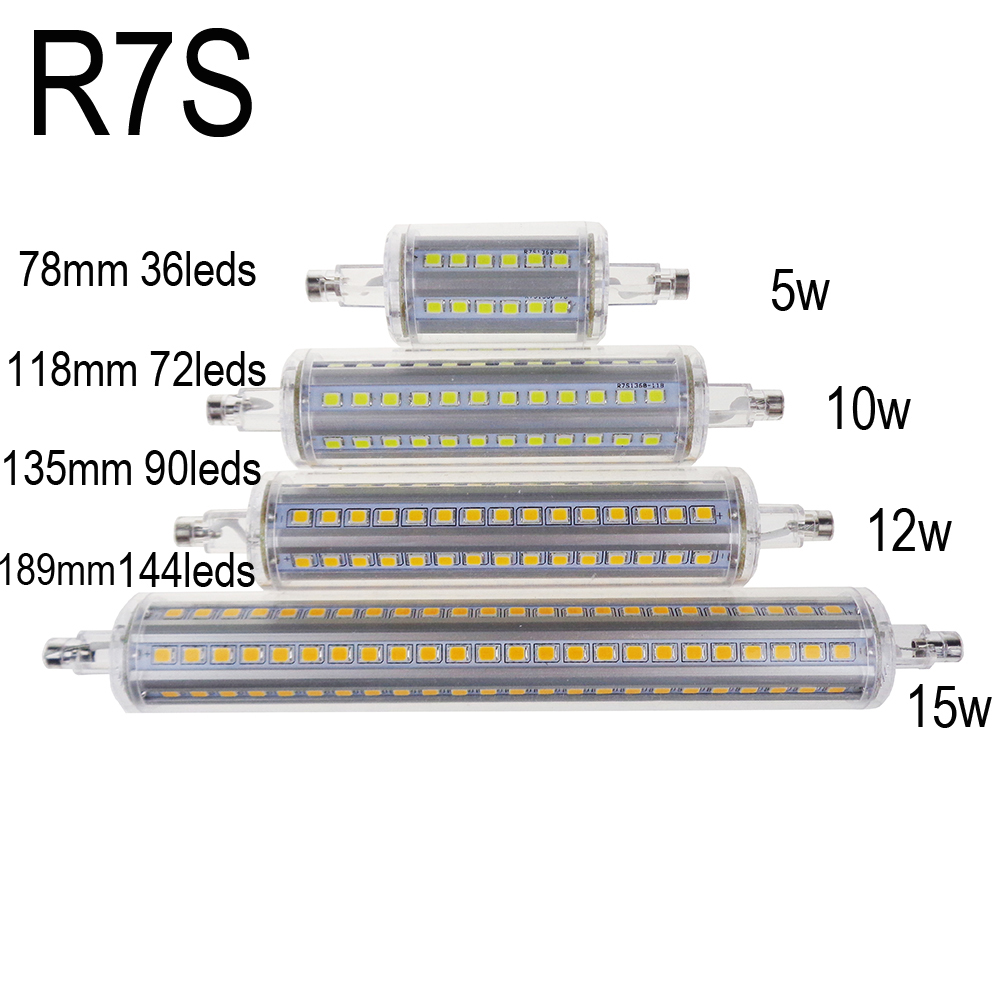 10W r7s led 118mm 360 degree 5W 78mm lampadas led r7s bulb 12W 135mm 15W 189mm replace halogen lamp lamp 25mm diameter AC85-265V omto r7s led corn 20w light 2835 smd 189mm 144leds ac85 265v