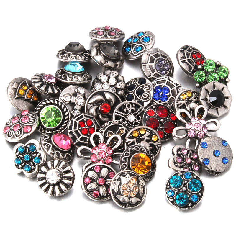 10pcslot New 12mm Snap Jewelry Interchangeable Accessory MIX Snap Fit 12mm Button Snaps Bracelet Necklace ZL000MIX-A