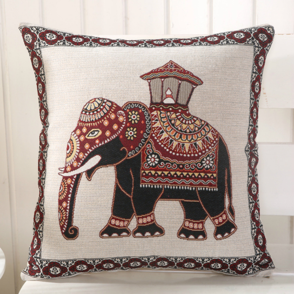 Linen Cotton Pillow Cove Elephant Indian Cute Nation Pattern Cushion Cover for safa Home Decorative Pillow Case 45x45cm