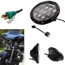 7″ 75W Motorcycle LED Headlight Projector H4 H13 DRL Daymaker For Harley Davidson Motorcycle  (Also Fit JeepWrangler JK TJ Etc)