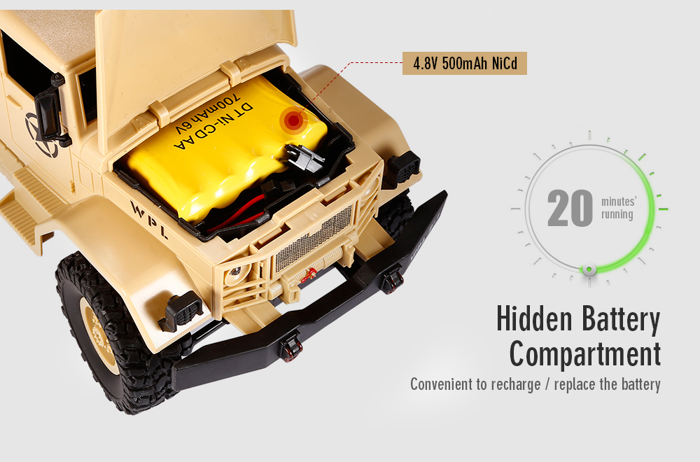 WPL B - 1 1:16 Mini Off-road RC Military Truck RTR Four-wheel Drive / Metal Suspension Beam / Bright LED Light