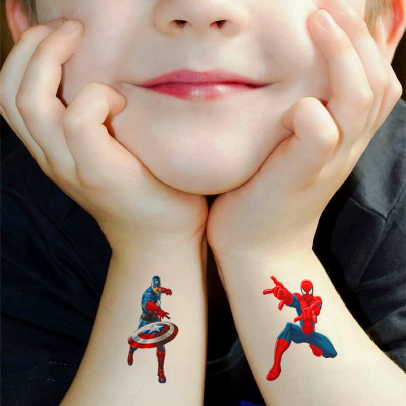 Children Cartoon Temporary Tattoo Sticker Novelty Gag Toys For Mavel Avengers Spiderman Batman Ironman Fans Waterproof 2-3 Days