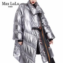 Max LuLu 2018 Luxury Korean Ladies Bling Silver Streetwear Womens Winter Puffer Jacket Long Parkas Woman Fashion Coats Plus Size