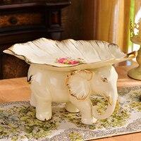 European luxury decoration decoration living room set fruit tea table home modern elephant ceramic fruit plate