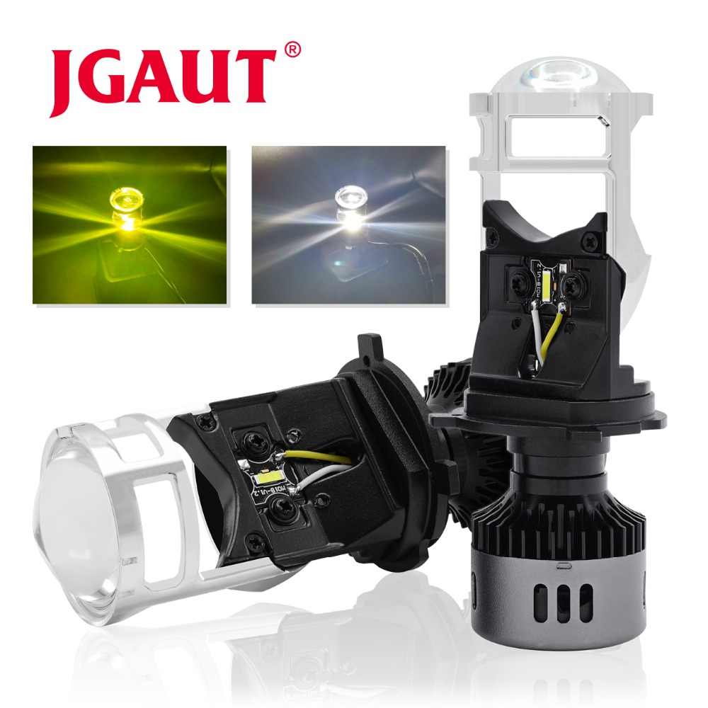 JGAUT Car Lights H4 LED Headlight motorcycle lamp 3000K 6500K White Yellow mini projector lens Automoblies Bulb Hi/Lo Beam 12V