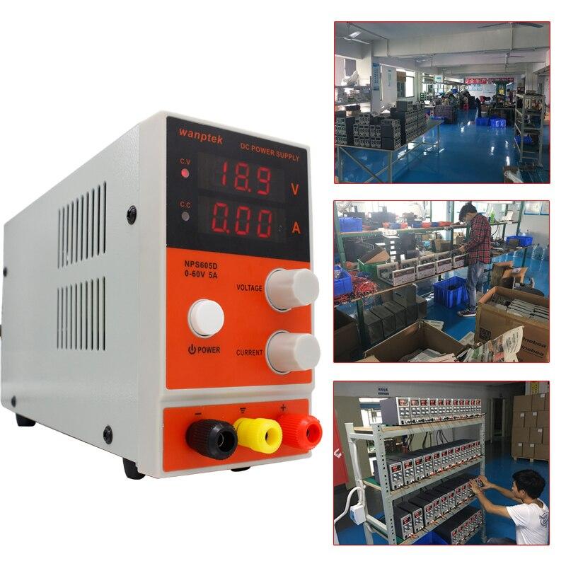 Alimentation à découpage de laboratoire DC NPS605D, mini alimentation numérique réglable de banc de régulateur de tension 0-60 V/0-5A