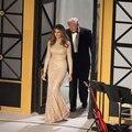 Модные Блестками Шампанское Мелания Трамп Знаменитости Платье O Шеи Вечерние Платья