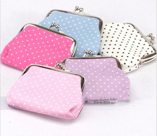 New Polka Dot Print Coin Purse Change Wallet Children Kids Ladies Small Coin Bag high waist polka dot print trumpet pants