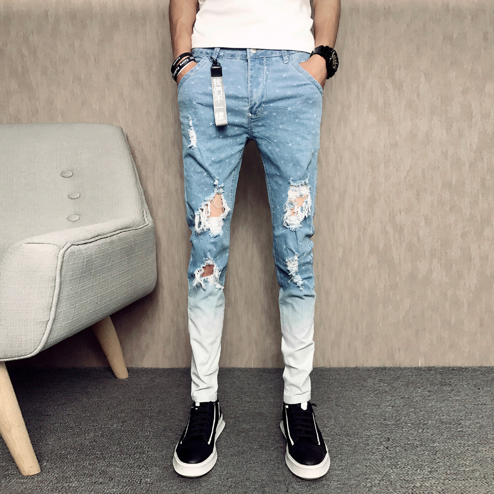 Summer New Men Skinny Jeans Fashion 2018 Slim Fit Casual Ripped Jeans Men Personality Star Print Hole Jeans Pants Denim Trousers