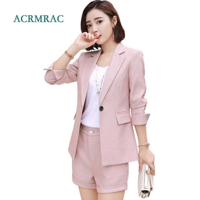ACRMRAC Women suits Long sleeve Slim Striped jacket shorts Suit pants OL Formal Women pants suits Womens business suits