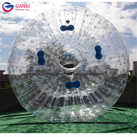 2.5m diameter inflatable clear water zorbing ball, 1.0mm PVC inflatable zorb ball for sale