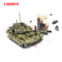Military Russia T90 Army Panzer Tiger Tank Building Blocks Compatible Technic WW2 Weapon City Bricks Classic Children Toy Gift(China)
