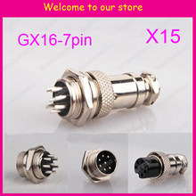 Free Shipping 15pair=30pcs 7Pin 16mm Male & Female Wire Panel Connector kit GX16 Socket+Plug for aviation,computer ect(China)