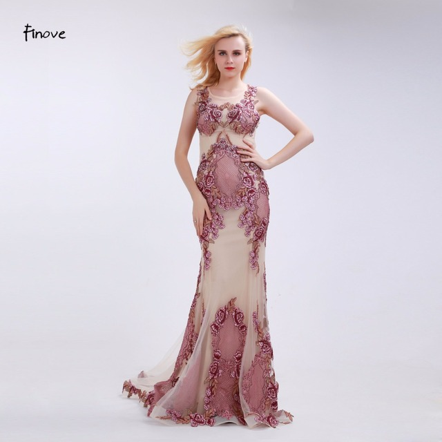 Aliexpress.com : Buy Finove Dusty Pink Evening Dresses 2017 New ...