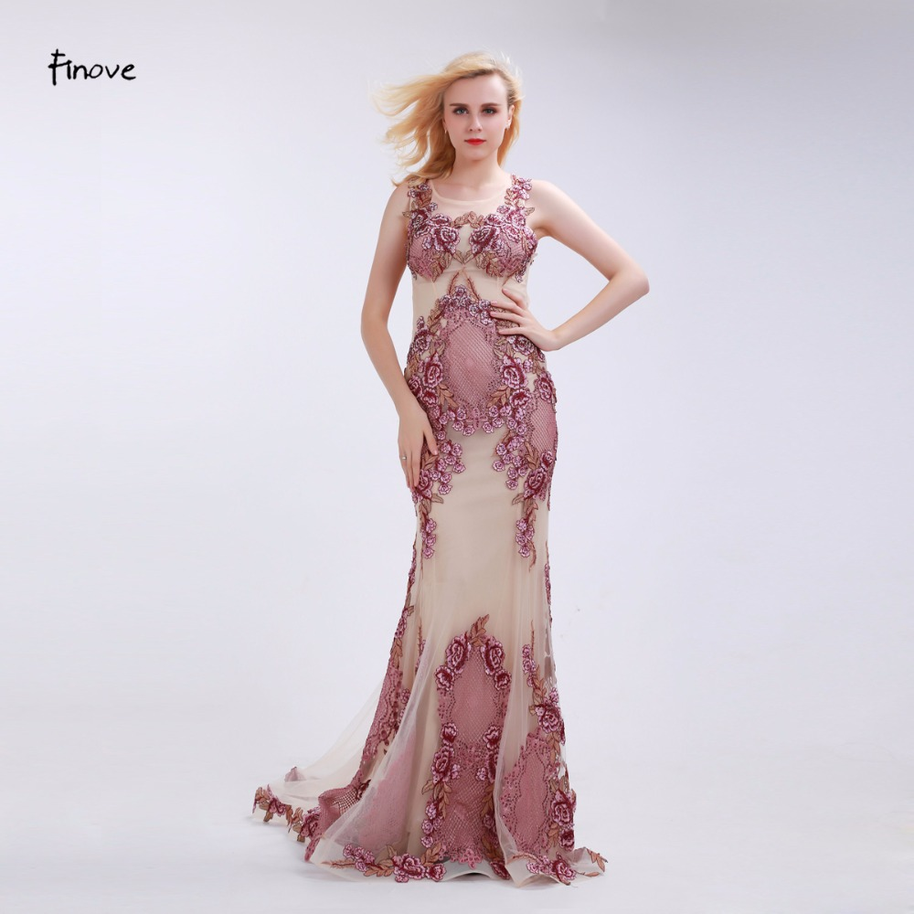 Finove Dusty Pink Evening Dresses 2018 New See Through