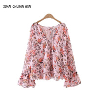 Summer Women Fashion Ruffles Blouse Vintage Chiffon Blouse Plus Size Tops V Neck Floral Print Top