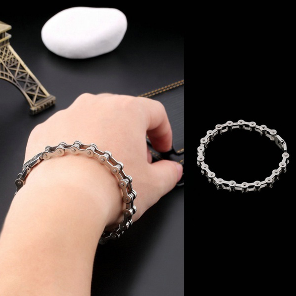 Fashion Men Women Biker Bicycle Motorcycle Chain Bracelet Bangle Punk Titanium Steel Bracelet Men Bangle