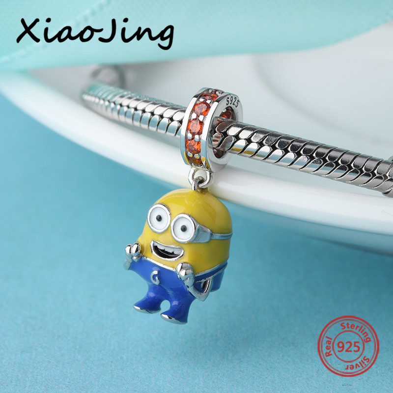 2018 new DIY Minions Pendant Charms 925 Silver beads with colorful enamel&CZ Fit pandora Bracelets Jewelry making women Gifts цена