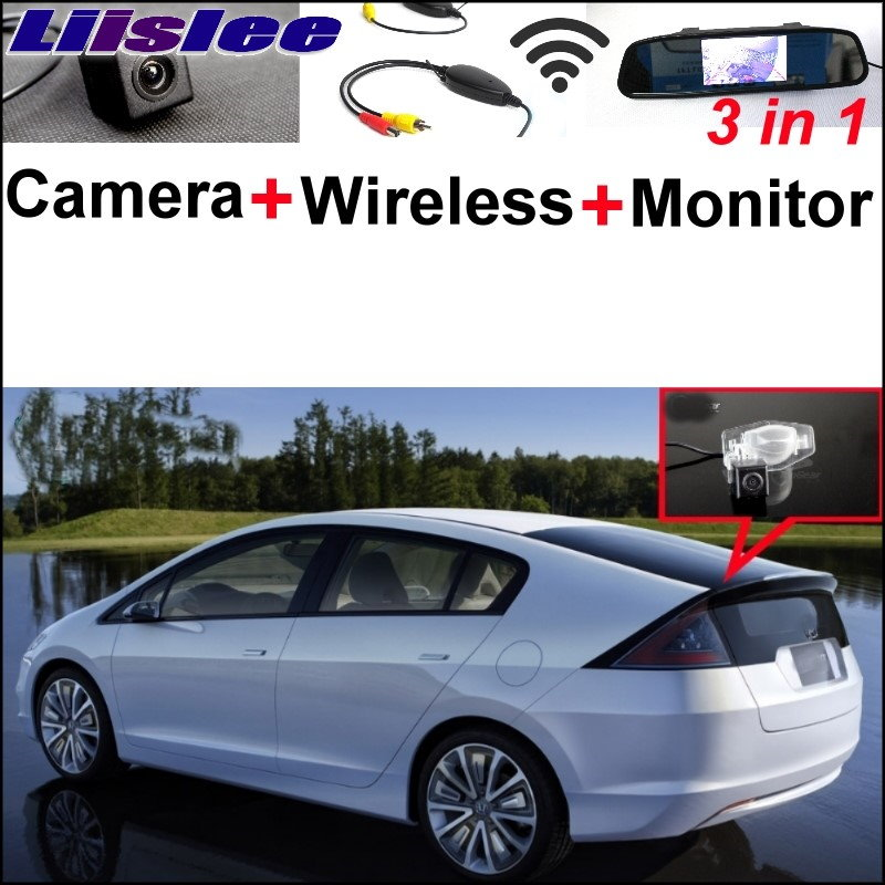 Liislee 3 in1 Special Camera + Wireless Receiver + Mirror Monitor Easy DIY Back Up Parking System For Honda Insight 5D 2010~2015