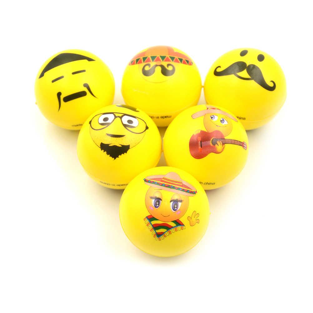 6.3 ซม.พิมพ์ฟองน้ำโฟม Ball PU ลูกยางบีบความเครียดสำหรับผ่อนคลายมือข้อมือการออกกำลังกาย Facilal Care เครื่องมือ