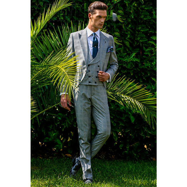 Retro Mens Wedding Groom Tuxedos Suits Grey Travel Suits Plaid ...