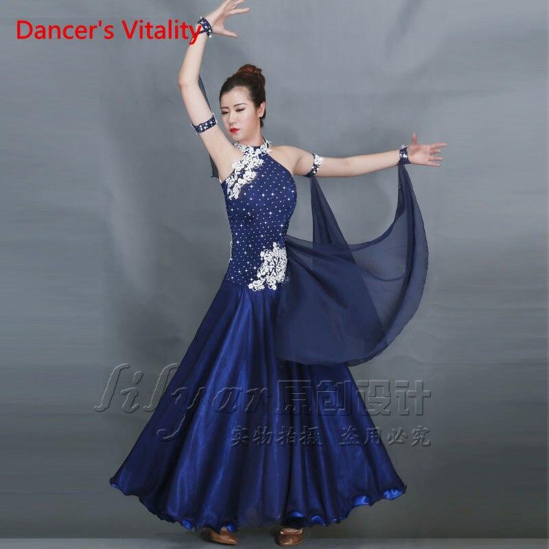 Dancers Vitality Ballroom Dance Dress Women Girls Embroidered Diamonds Ballroom Dress Salsa Samba Tango Ballroom Competition