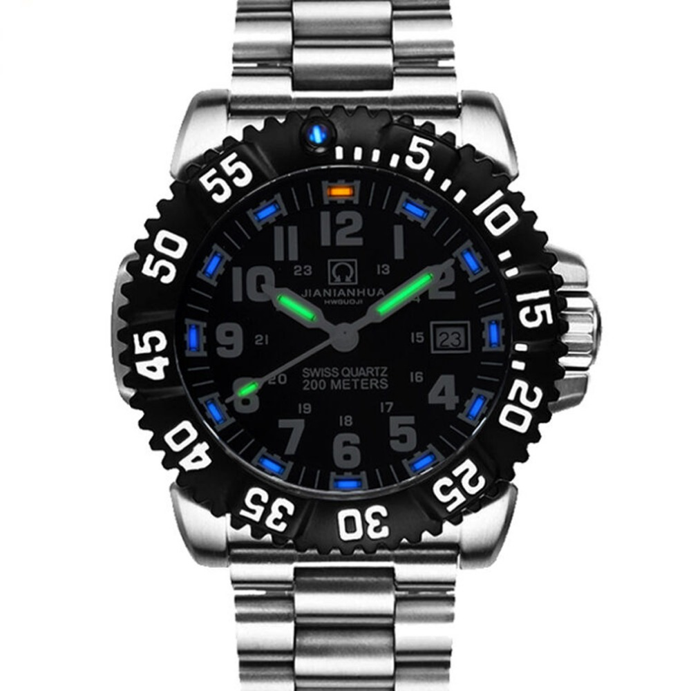 Carnival Mens Sport Military Tritium Luminous 200m Waterproof Steel Watchband Quartz Diving Watch - black Bezel black Dial