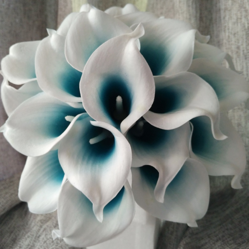 Compare prices on blue lily flower online shoppingbuy low price picasso calla lily 10 stems mini calla lily bouquet teal blue white calla lilies bridal bouquet dhlflorist Choice Image