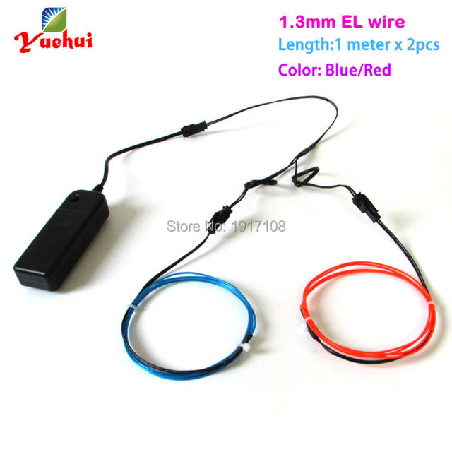 2017 New 1.3mm 1Meter 2pieces Blinking EL Wire tube rope flexible ...