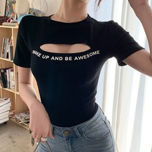 Fashion Summer T Shirt Women Sexy Hollow Out Round Neck T-Shirt Tops Letter Print Short Sleeve T Shirts Female Tees Camisetas