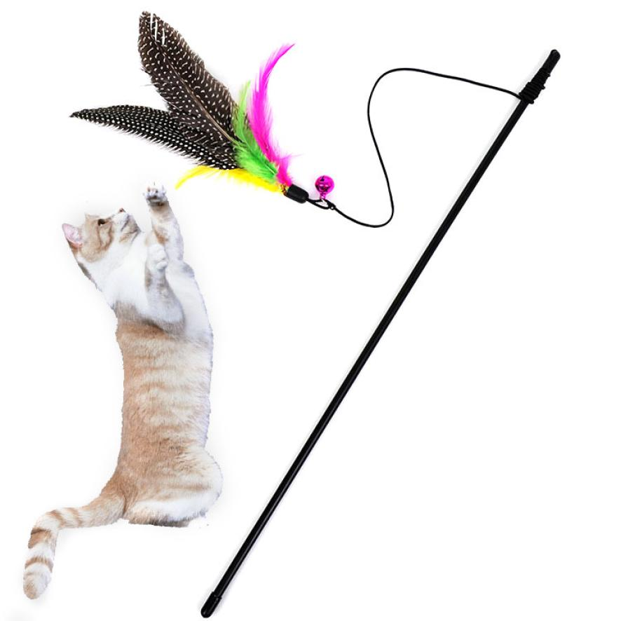 Transer 1PC Kitten Cat Dog Teaser Interactive Toy Rod with Bell & Feather Cute Pet Toys Drop Shipping Happy Sale ap801