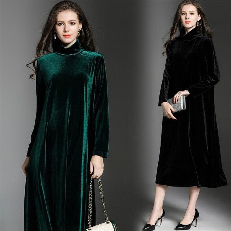 Winter Gold Velvet Dress 2019 Big Size Long Sleeves Turtleneck Green Tunic Elegant Dress Casual Retro Vintage Party Dresses