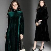 Winter Gold Velvet Dress 2018 Big Size Long Sleeves Turtleneck Green Tunic Elegant Dress Casual Retro Vintage Party Dresses