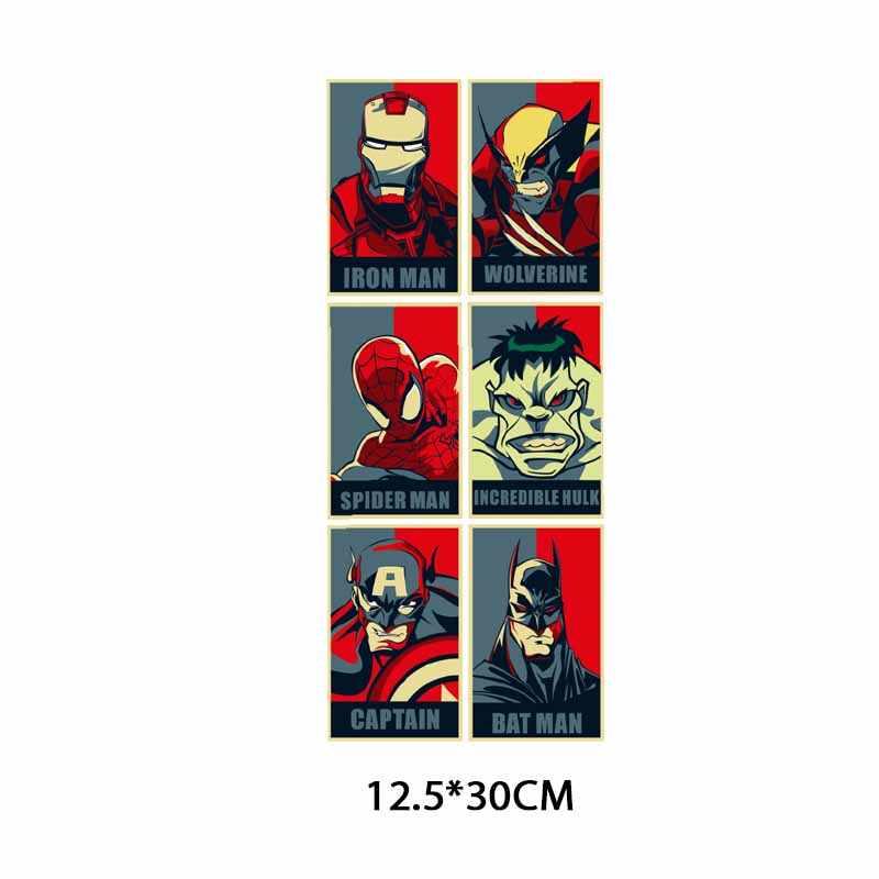תיקון גיבור ברזל על העברת ספיידרמן באטמן איש ברזל תיקוני בגדי אפליקצית העברת חום ויניל מדבקות על בגדים