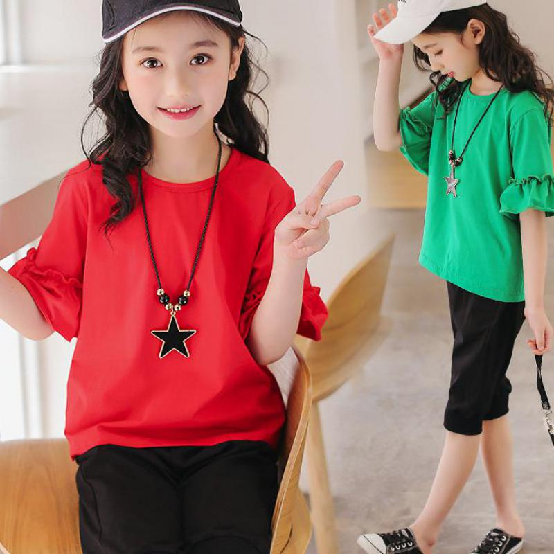 Summer Children Clothing Teenage Girls Clothing Sets 2018 New Suit School Uniform Costume T-shirts + Pants 4 6 8 10 12 14 Years