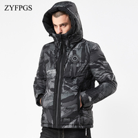 ZYFPGS 2018/ss New Winter Men's Warm Jacket With Hat Camouflage Cotton Casual Men's Solid Park Jacket Ice Clothes Bear Tops 820