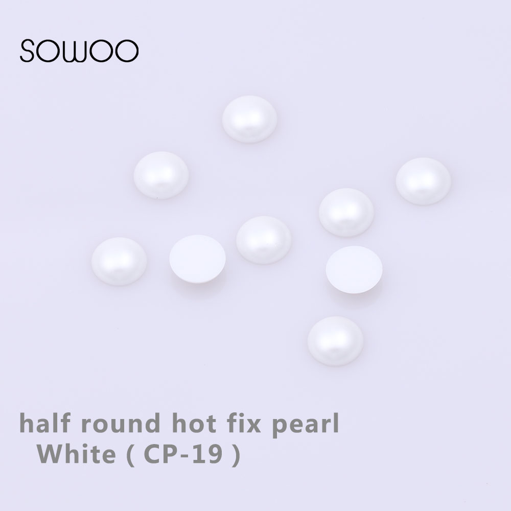 1440pcs lot SS16 4mm White Color Half Pearl Iron-on Hotfix Pearl Crystal  Rhinestones 43827d6a7011