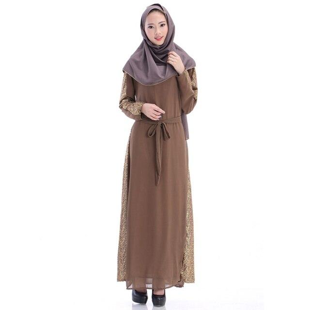 BooLawDee Лето формальные шифон Арабские женщины длинное платье мусульманин абая с пояса полный рукав свободный размер многоцветный T22004