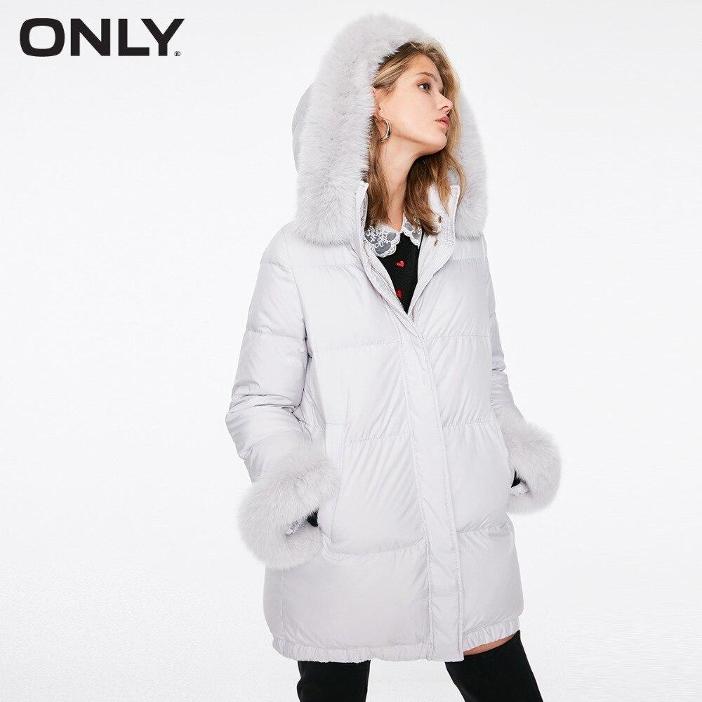 여성 전용 겨울 새 여우 모피 칼라 긴 자켓 분리형 루프 밑단 번들 디자인  118312508-에서다운 코트부터 여성 의류 의  그룹 1