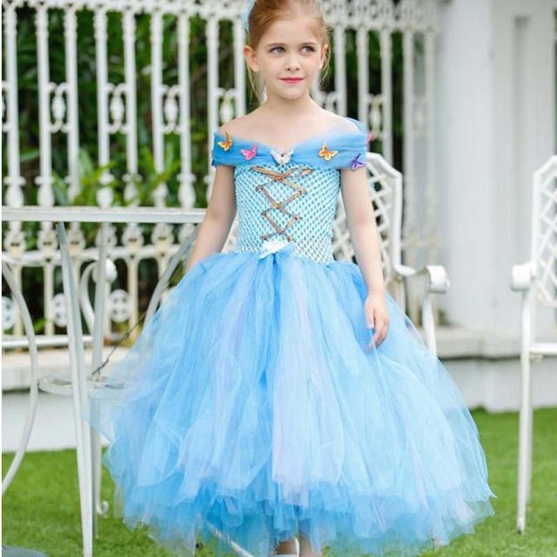 7d8f76cf90650 Prenses Külkedisi Tutu Elbise Açık Mavi ve Beyaz Kelebek Kız Yaz Tutuş Elbise  Parti Düğün Cosplay Kostüm TS057